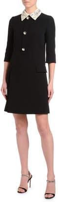 Prada Satin-Embroidered 1/2-Sleeve Cady Dress