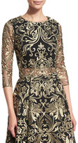 Notte by Marchesa 3/4-Sleeve Embroidered Top