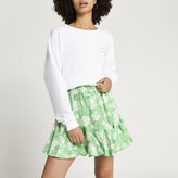 Thumbnail for your product : River Island Womens Green floral print mini skirt