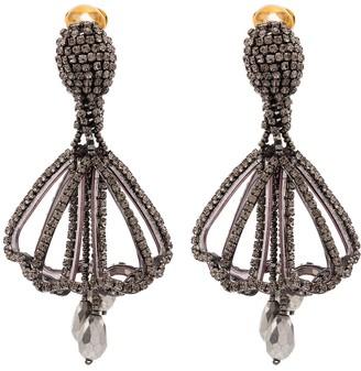 Oscar de la Renta Gold-Tone Crystal Drop Earrings