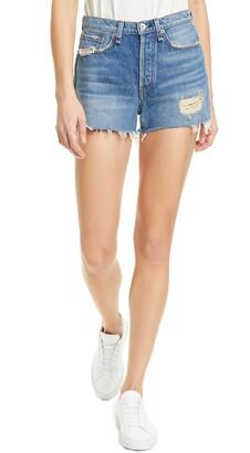 Rag & Bone Maya Distressed High Waist Cutoff Denim Shorts