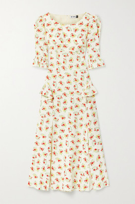 Rixo Quinn Ruffled Floral-print Cotton Midi Dress - Ecru