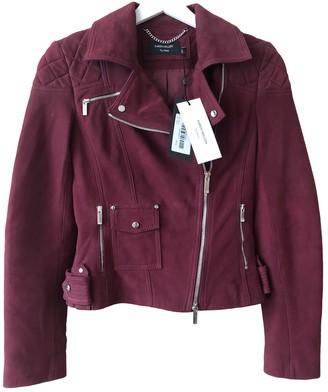 Karen Millen Burgundy Suede Leather Jacket for Women