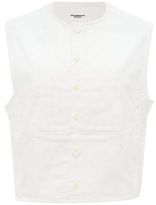 TAKAHIROMIYASHITA TheSoloist. Bib-front Pintucked Cotton-blend Poplin Vest Shirt - White