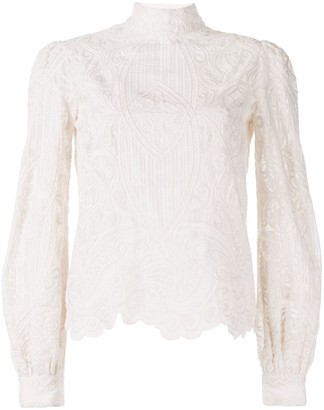 Wandering Sheer Lace Embroidered Top