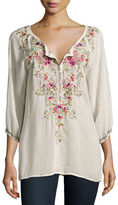 Johnny Was Moon 3/4-Sleeve Embroidered Blouse