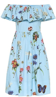 Oscar de la Renta Floral stretch-cotton minidress