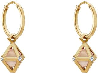 Swarovski x Stephen Webster Double Diamond Rose Gold, Diamond and Rose Quartz Drop Earrings