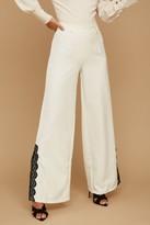 Paper Dolls Palma Cream Lace-Trim Flare Trousers Co-ord