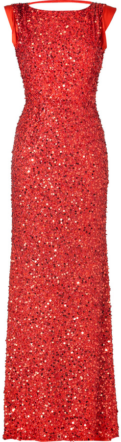 Jenny Packham Clementine Red Sequin Gown