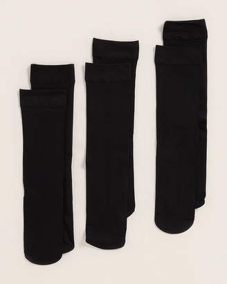 Me Moi Memoi 3-Pack Solid Black Trouser Socks