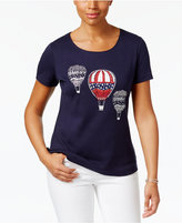 Karen Scott Glitter Graphic Studded Cotton Top, Only at Macy's