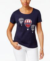 Karen Scott Petite Cotton Balloon Graphic T-Shirt, Created for Macy's