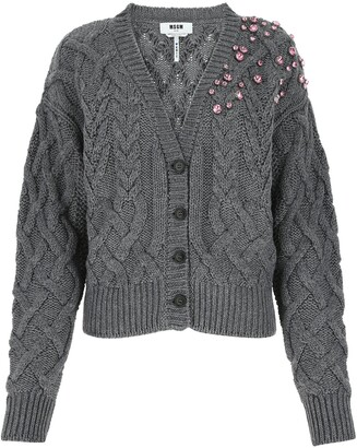MSGM Embellished Cable Knit Cardigan