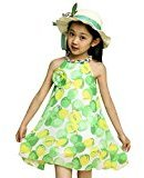 Kingfansion Girl Chiffon Print Spaghetti Strap Casual Party Dress Kids Clothing (140, Green )