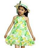 Kingfansion Girl Chiffon Print Spaghetti Strap Casual Party Dress Kids Clothing (150, Green )