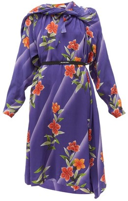 Balenciaga Floral-print Twisted Silk Dress - Womens - Purple Print