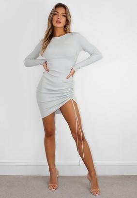 Missguided Mint Rib Knit Ruched Side Mini Dress