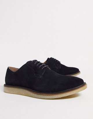 Walk London dell derby lace ups in navy suede