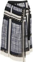 Sacai Velvet-trimmed Pleated Chiffon Wrap Skirt - Navy