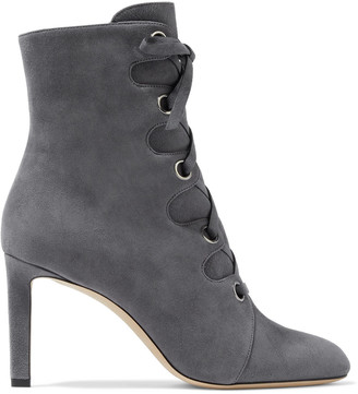 Jimmy Choo Blayre 85 Lace-up Suede Ankle Boots