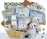 BGBCO Puppy Love Moses Baby Gift Basket with Free Personalization by The Gift Basket Gallery