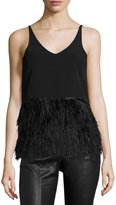 Romeo & Juliet Couture Sleeveless Ponte Feather-Hem Top, Black
