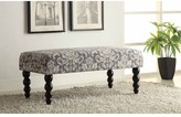 Linon Claire Grey Damask Fabric Ottoman Bench