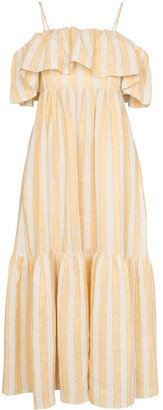 Three Graces Ida ruffle stripe maxi dress