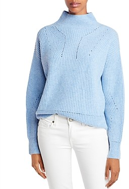 Aqua Cashmere Novelty Stitch Cashmere Mock Neck Sweater - 100% Exclusive