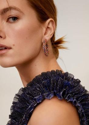 MANGO Hoops crystal earrings silver - One size - Women