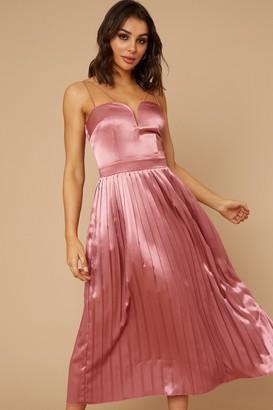 Little Mistress Rory Deep Mink Satin Pleated Hem Midaxi Dress