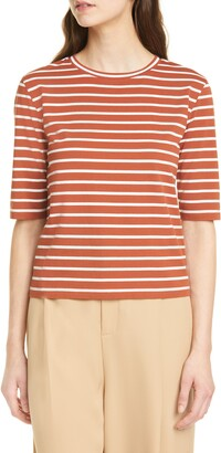 Vince Stripe Elbow Sleeve Top