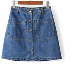 Fashion Showcase Summer Women's A Line Single Breasted Mini Jeans Skirt (L)