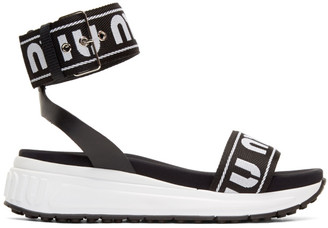 Miu Miu Black and White Strappy Sandals