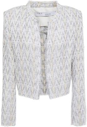 IRO Makilo Cropped Frayed Metallic Boucle-tweed Jacket