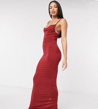 Asos Tall ASOS DESIGN Tall cami cowl maxi dress in oxblood