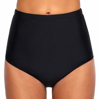 Auifor Women Swim Bottom Solid Colour High Waist Bikini Swim Pants Shorts Summer Daily Wild Bathing Bottom Beach Swimming Pants(Black M)