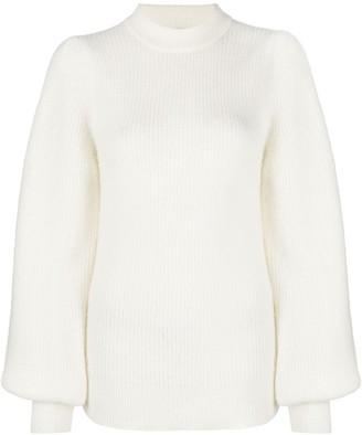 Ganni Bishop-Sleeve Wool Top