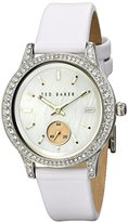 Ted Baker Women's TE2117 Vintage Glam Stainless Steel Watch with White Leather Band