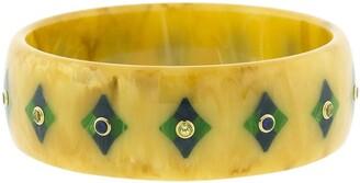 Mark Davis 18kt Yellow Gold Sapphire Bakelite Geometric Bangle Bracelet