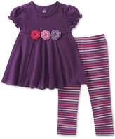 Kids Headquarters 2-Pc. Rosettes Tunic and Striped Leggings Set, Baby Girls (0-24 months)