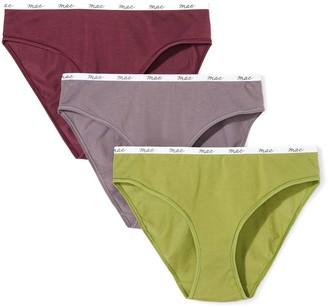 Mae Amazon Brand Women's Logo Elastic Cotton Bikini 3 Pack