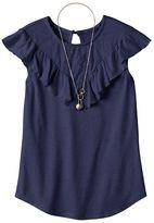 Self Esteem Girls 7-16 & Plus Size Crochet Lace Flounce Overlay Top with Necklace