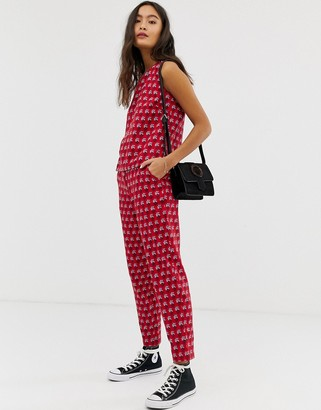 People Tree x V&A straight leg trousers in tiled floral print co-ord