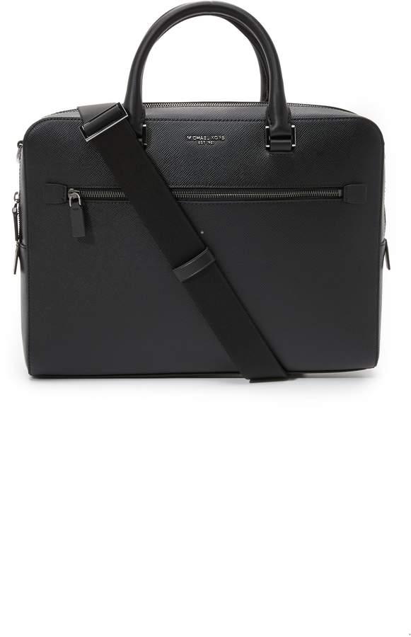 Michael Kors Harrison Front Zip Leather Briefcase