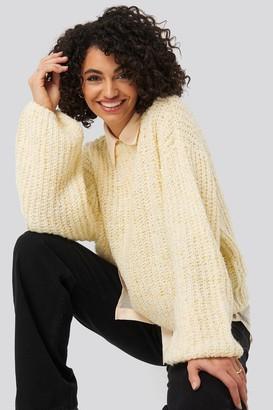 NA-KD Balloon Sleeve Melange Sweater Beige