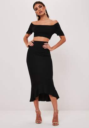 Missguided Black Bardot Crop Top And Midi Skirt Co Ord Set
