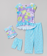Dollie & Me Blue & Purple Princess Pajama Set & Doll Outfit - Girls