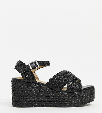 Raid Wide Fit Adalyn raffia flatform sandals in black